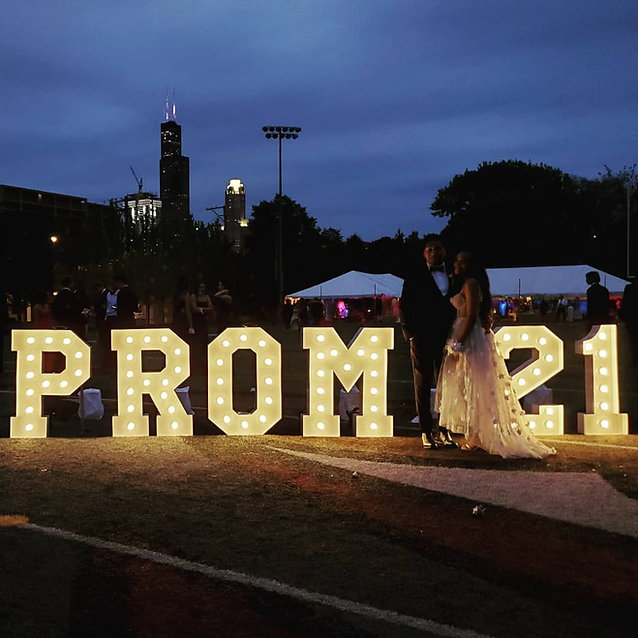 PROM Big Light Up Marquee Letters_PROM Decorations_Prom on StadiumChicago_ Yellow Shoes Ev