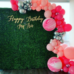 Birthday Party Decorations_Party Rental_Balloon Decorations_Hedge Wall Photo Backdrop_ Hap