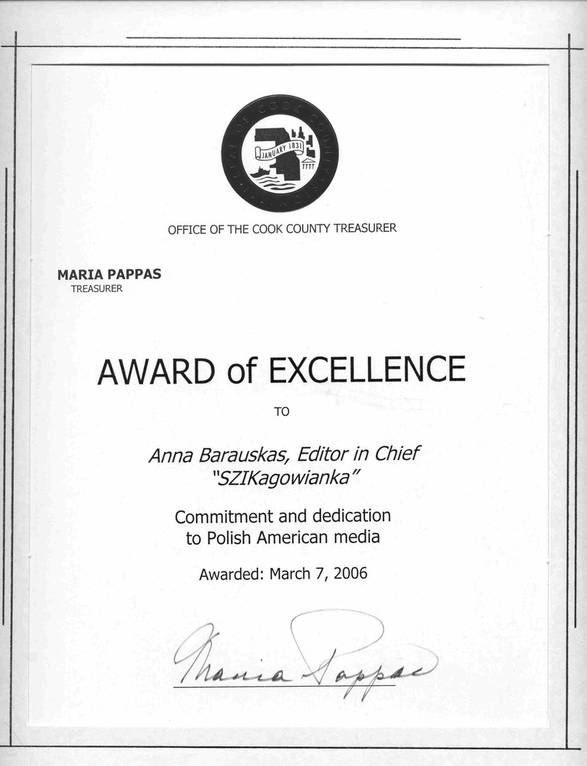 Award of Excellence from Cook County Treasure Department