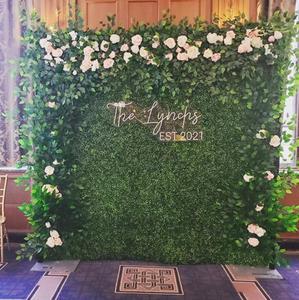 Organic Hedge Wall Photo Backdrop for Wedding_Customized Neon name Siagn_Wedding Rental_Ch