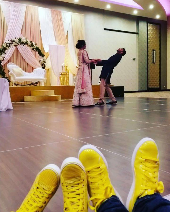 Yellow Shoes Event Rentals Team is working today. Preparing spectacular cold sparklers show and uplighting for engagement party. Learn more about us and our services at www.yellowshoesevents.com  #yellowshoesteam #weddingrentals #pearlbanquet