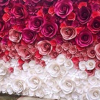 Red Paper Flower Wall Backdrop rental Ch