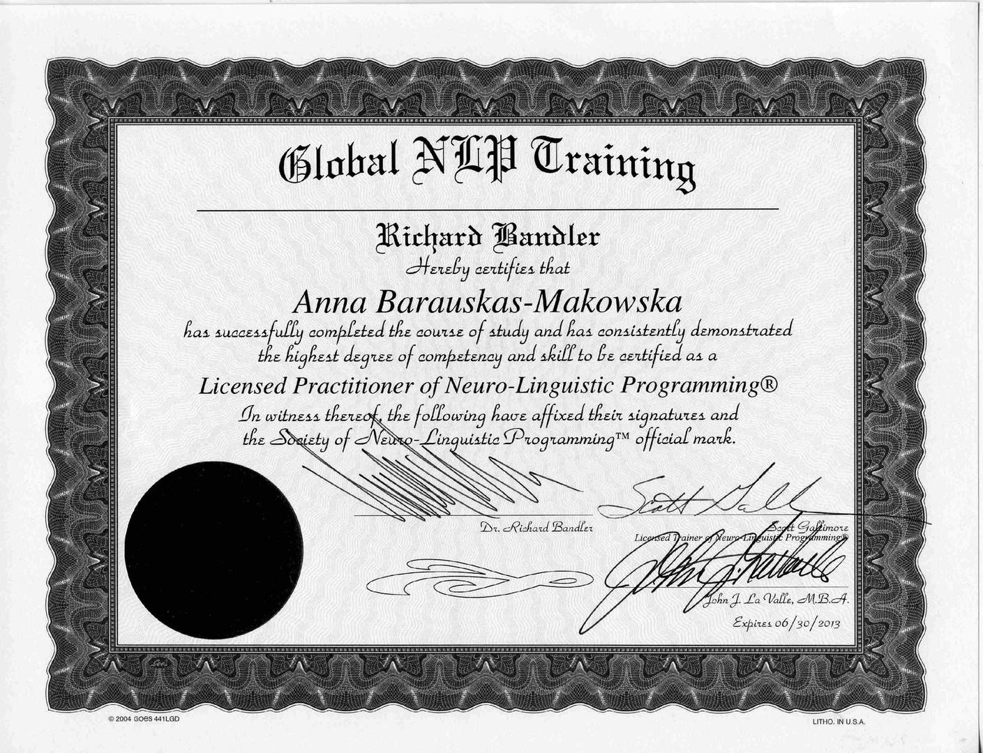 Licensed Practitioner of NLP