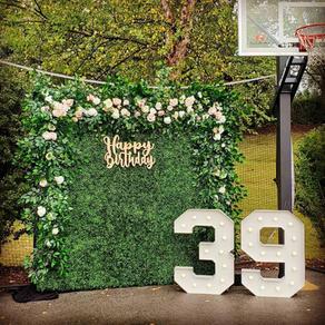 Birthday Party Decorations_Hedge Wall Photo Backdrop_Laser Cut Sign Happy Birthday_Big Lig