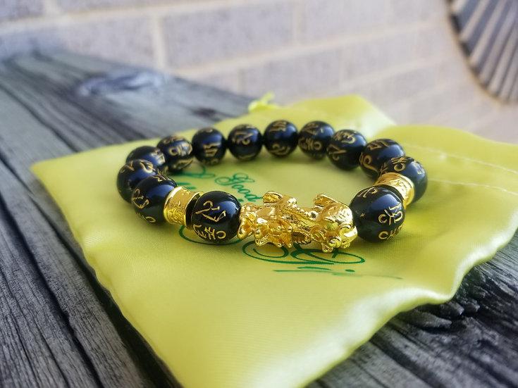 FENG SHUI BLACK OBSIDIAN WEALTH & MONEY BRACELET- 14k Gold Plated Design