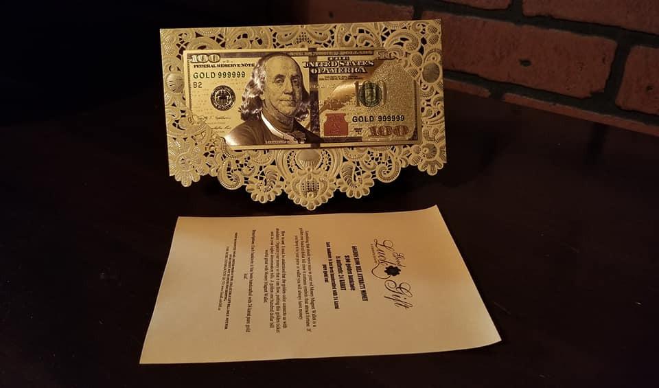 GOLDEN $100 BILL ATTRACTS MONEY