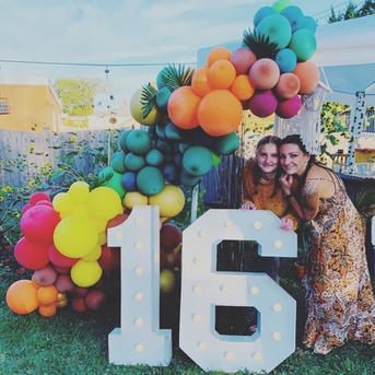 Sweet 16 Birthdsy party_16 Big Light Up Marquee Letters_Balloon Decorations_Chicago_ Yello