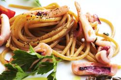 Spaghetti with local squid