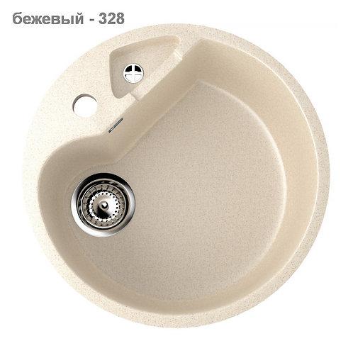 Круглая каменная мойка 505 мм с небольшой дополнительной чашей