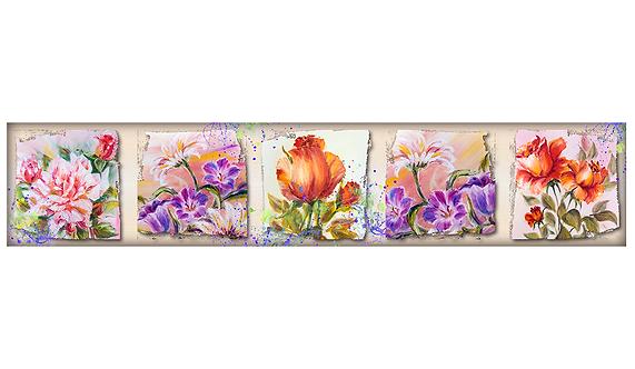 Кухонный фартук-038 Цветы Художника