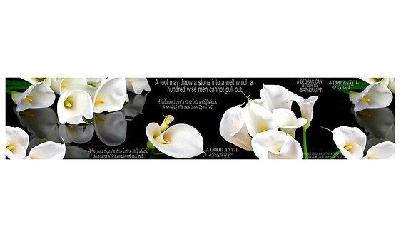 Кухонный фартук-005 Белые лилии на черном