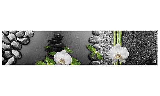 Кухонный фартук-030 Орхидеи и камни на сером