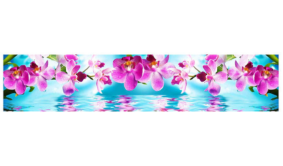 Кухонный фартук-008 Орхидеи на воде