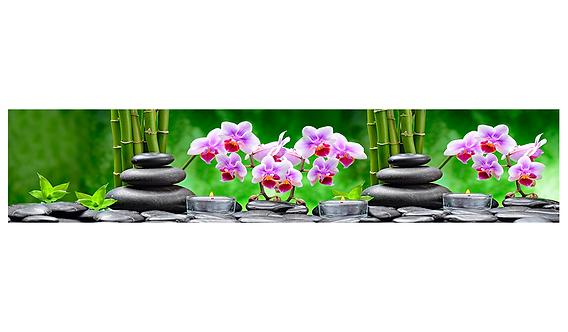 Кухонный фартук-007 Орхидеи и бамбук