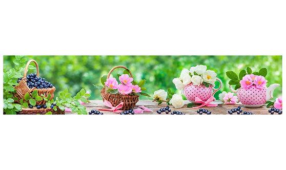 Кухонный фартук-032 Цветы и ягода