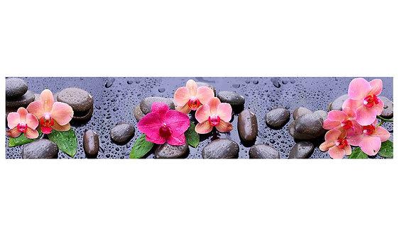 Кухонный фартук-006 Розовые орхидеи на камнях