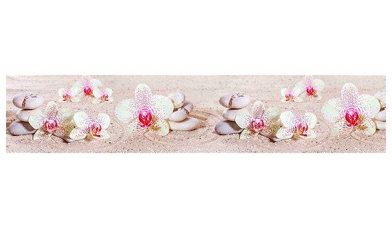 Кухонный фартук-004 Нежные орхидеи на песке
