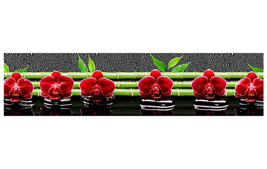 Кухонный фартук-031 Орхидеи и бамбук на воде