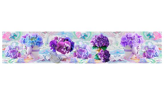 Кухонный фартук-010 Сиреневые цветочки