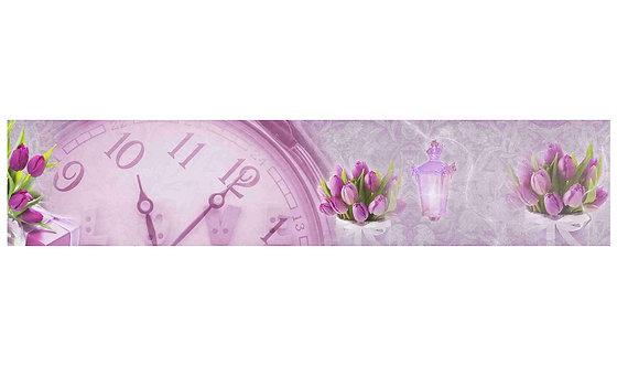 Кухонный фартук-042 Тюльпаны и часы