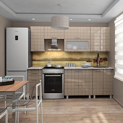 Модульная кухня Квадро МДФ крем металлик глянец
