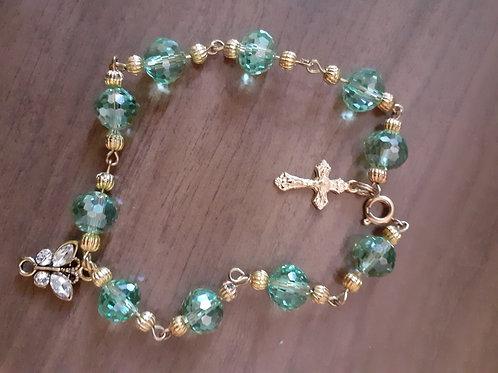 Green and Golden Rosary Bracelet
