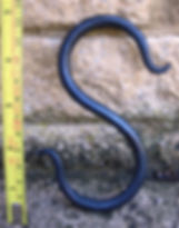 Hand forged artistic S hook