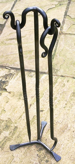 double fire poker stand with poker and hook