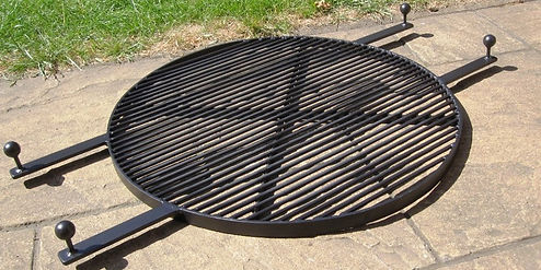 Fire pit BBQ grill for out door cooking made by john the blacksmith