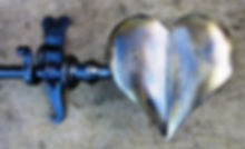 Forged Heart curtain finial by john the blacksmith