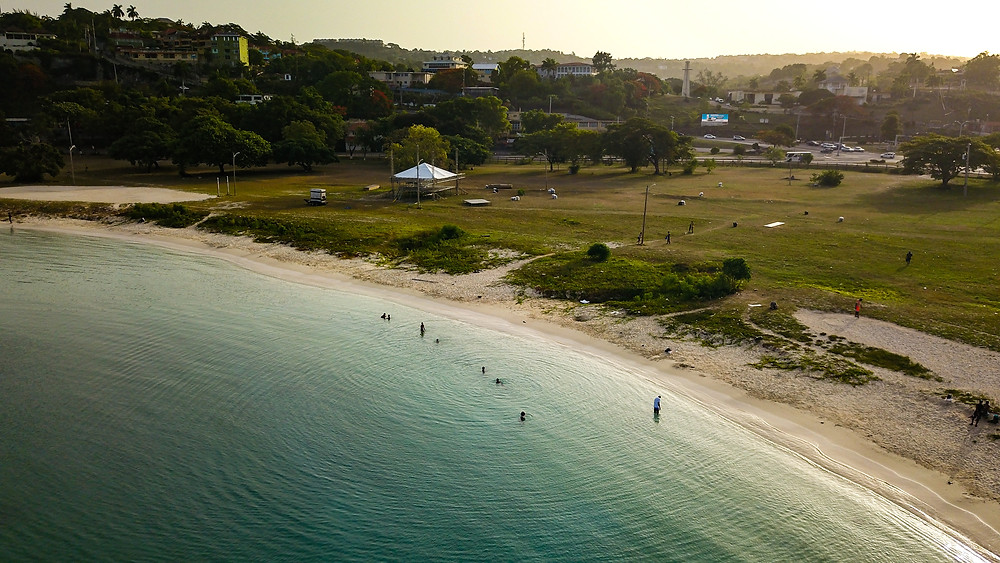 This beach is right infront of the city center of Montego Bay