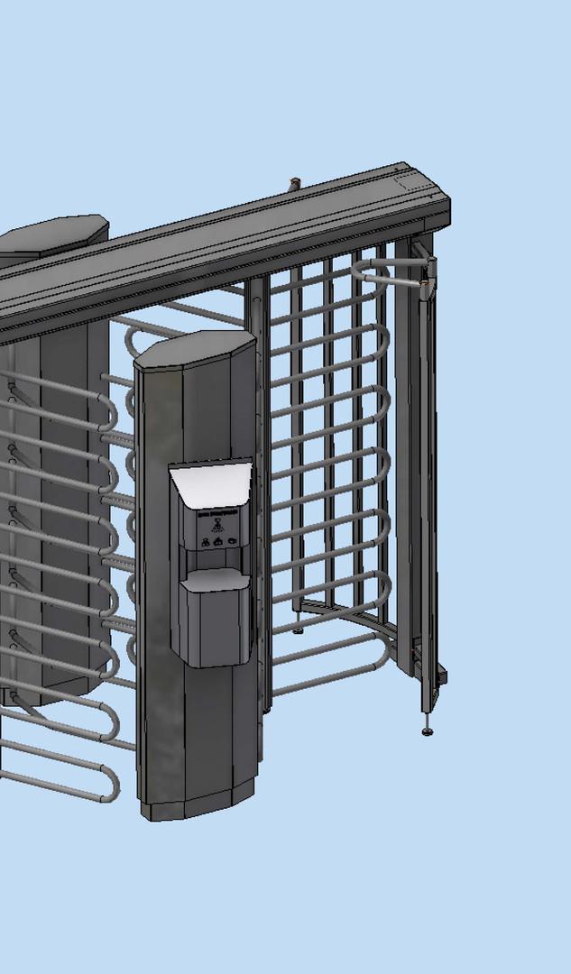 Drehkreuz Ecco 120 BD mit elektronischem Desinfektionsmittelspender