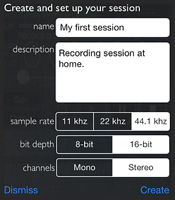 Settings of the recorder session of reSonare