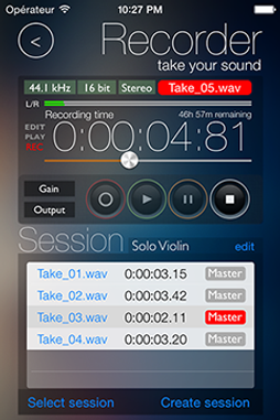 Screenshot of reSonare recorder app