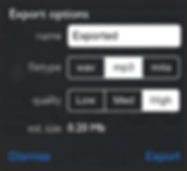 Screenshot of the export settings of reSonare