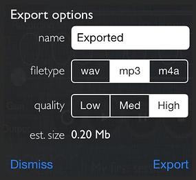 Screenshot of the export settings of reSonare
