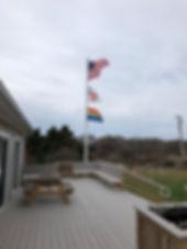 US Flag, Episcopal Flag, Rainbow Flag.jp