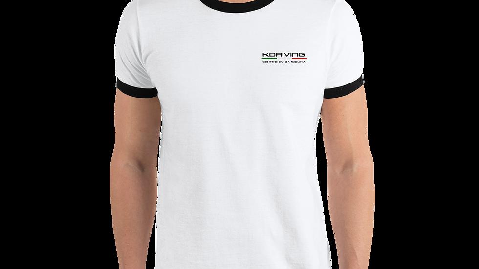 Ringer T-Shirt Bianca | Logo KDriving Nero