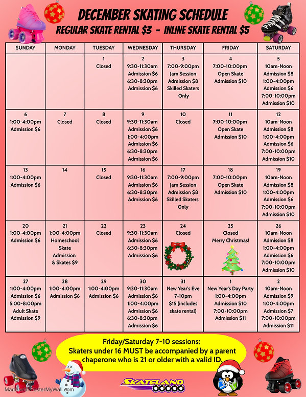December Schedule - Made with PosterMyWa