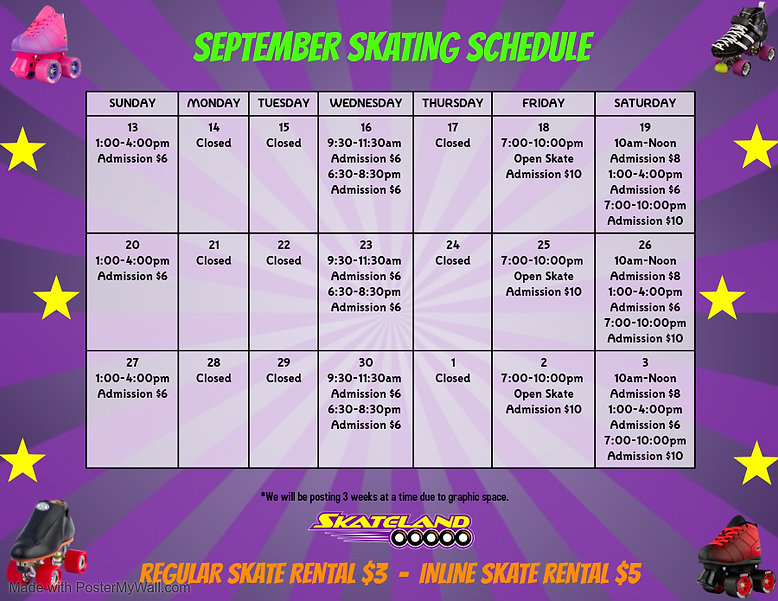 September Schedule 3 - Made with PosterM