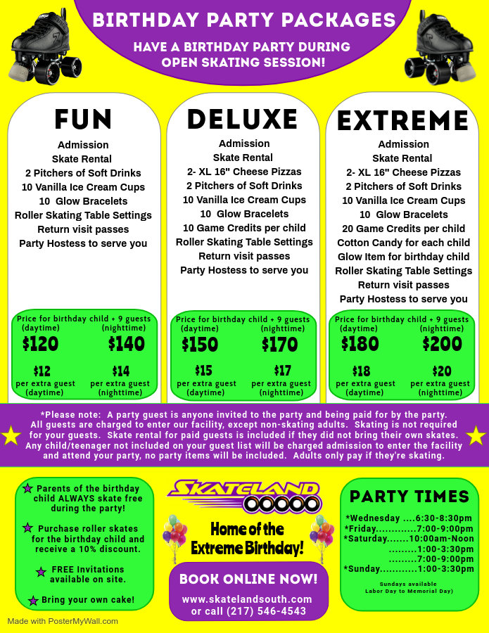 Skateland Birthday Flyer - Made with Pos