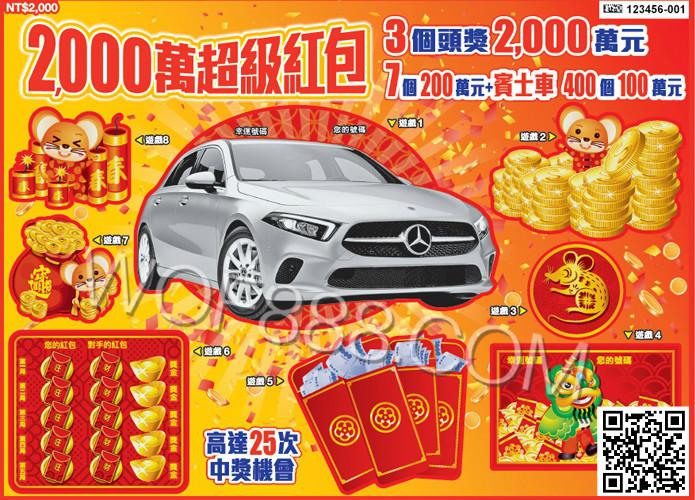 2000萬超級紅包,二獎200萬元加賓士A180 Sedan超級吸睛