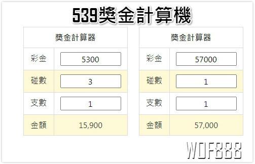 今彩539中2個號碼多少錢