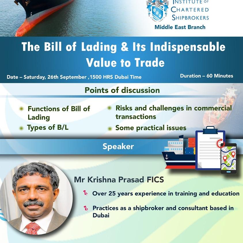 ICS-ME - KS 2020 - The bill of lading & its indispensable value to trade