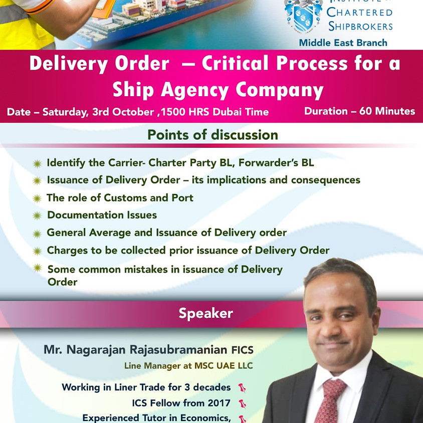 ICS-ME - KS 2020 - Delivery Order  – Critical process for a Ship Agency company