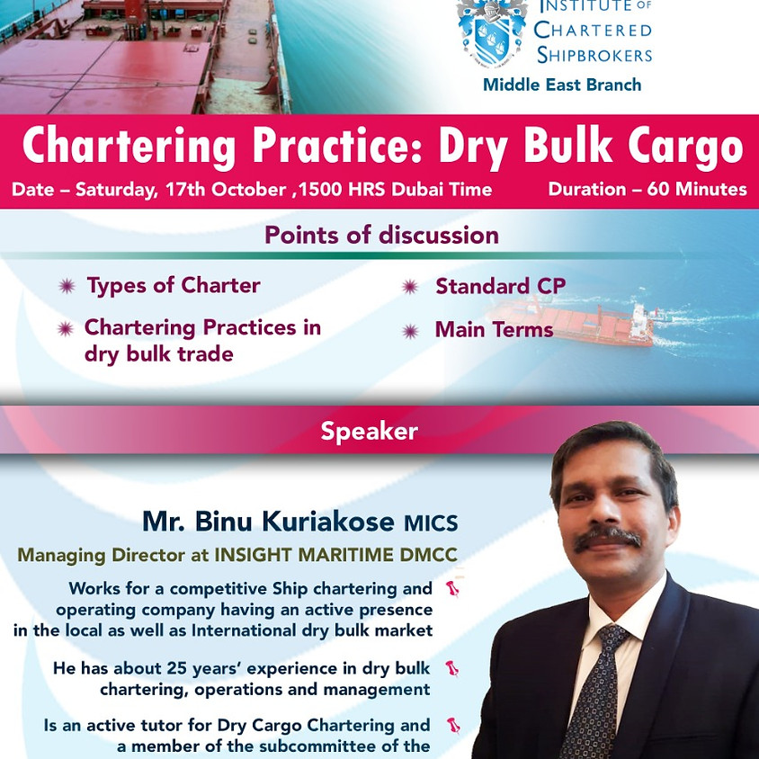 ICS-ME - KS 2020 - Chartering Practice: Dry Bulk Cargo