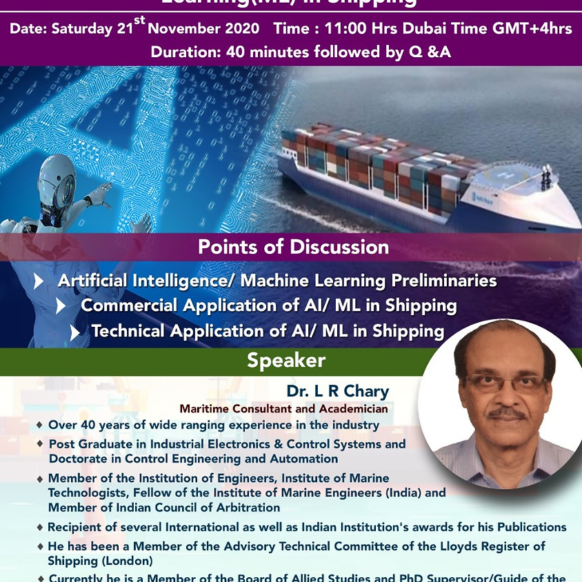 Application of Artificial intelligence (AI)/ Machine learning (ML) in Shipping