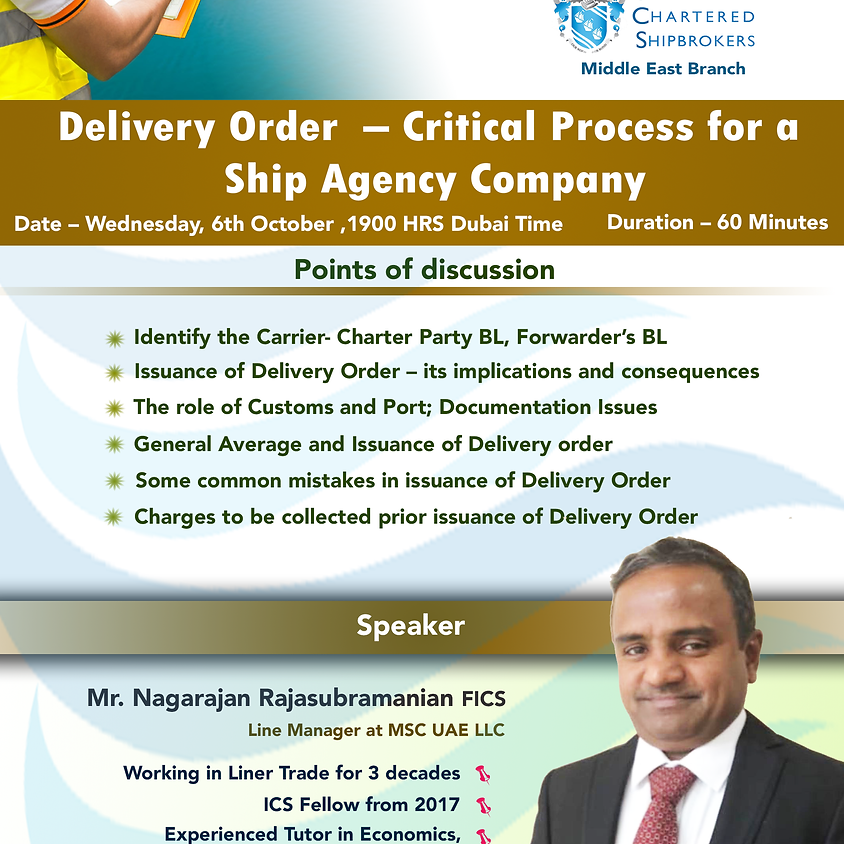 Delivery Order Critical Process for a Ship Agency company