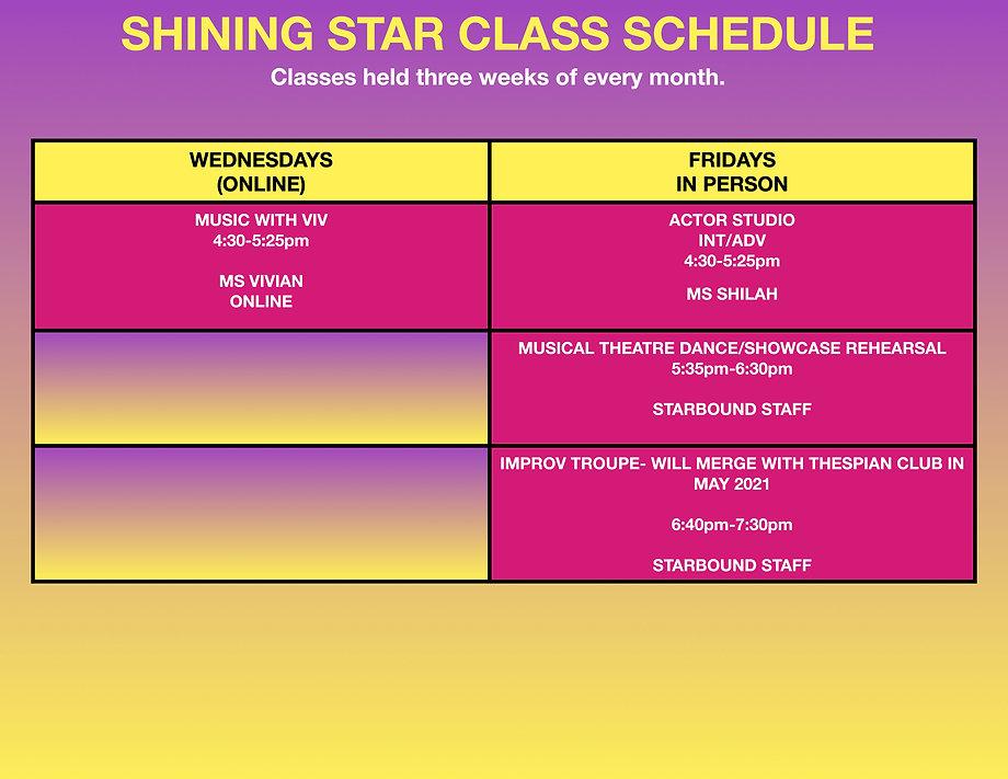 PAC Class Weekly Schedule Shining Stars