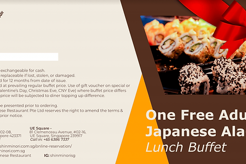 One Free Adult Ala-Carte Lunch Buffet